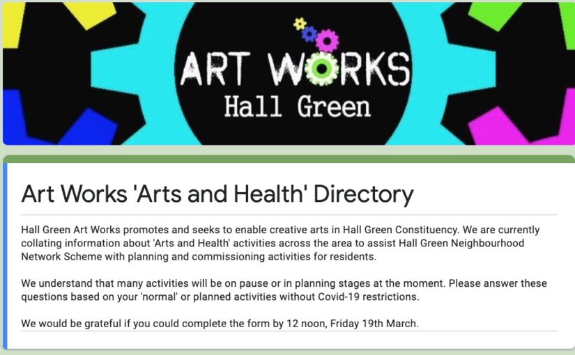 Arts and Health activities survey for Artists and Arts organisations