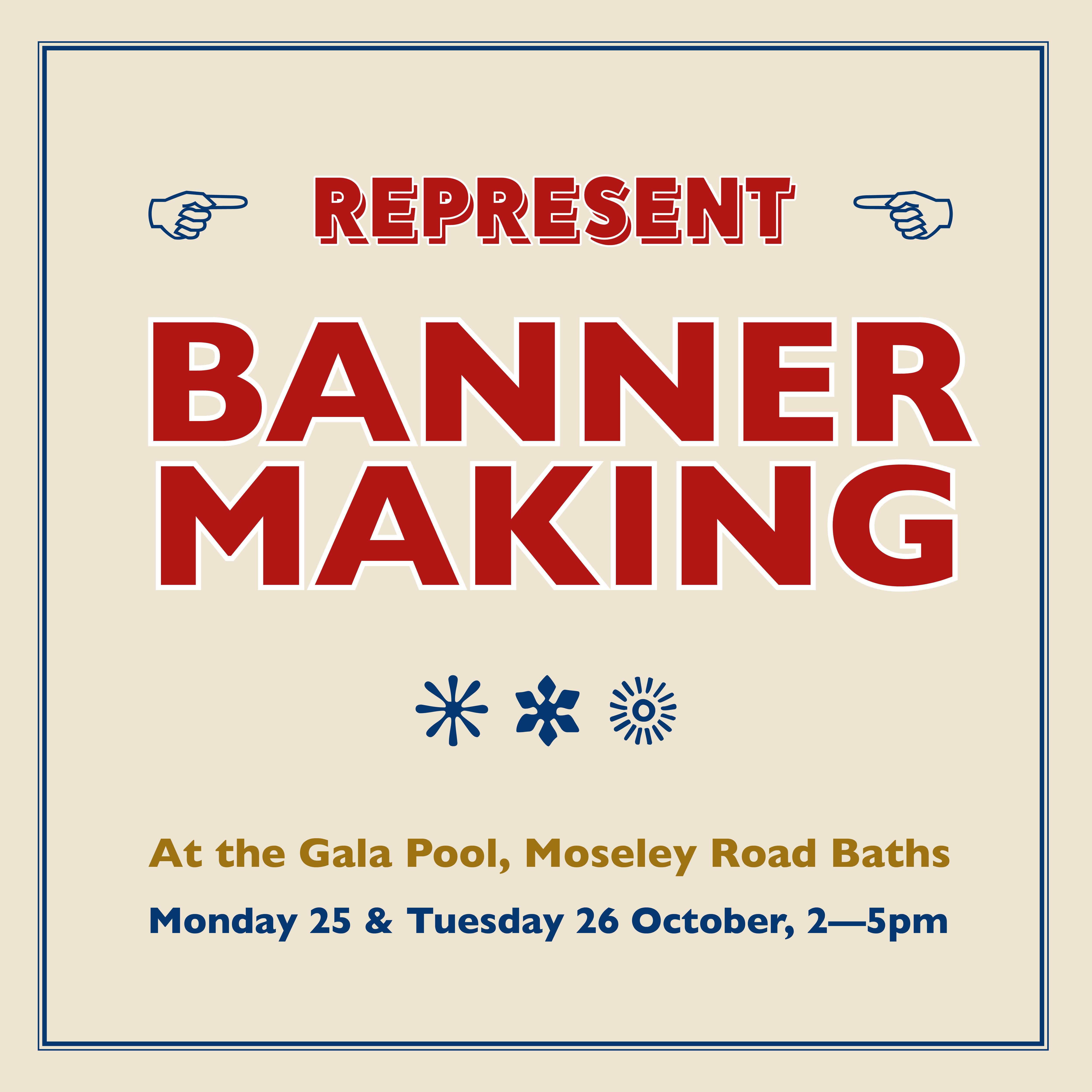 Banner Making for families at Moseley Road Baths